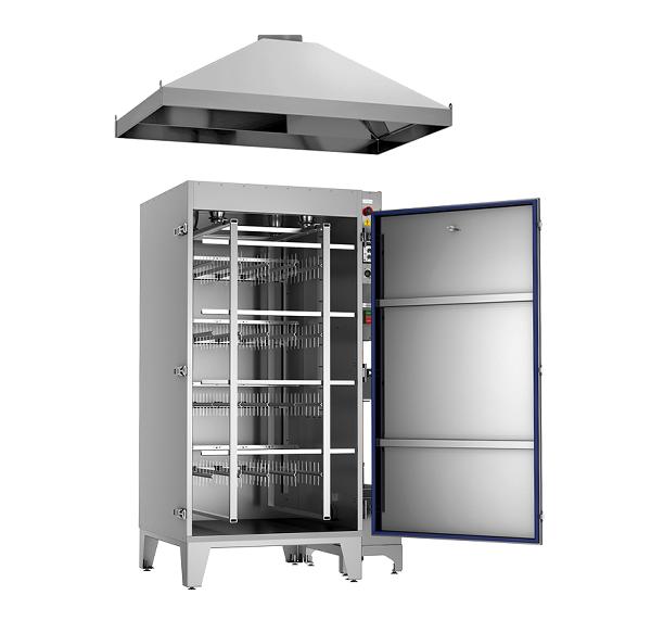 Коптильная установка Ижица-1200М3 с открытой дверью и вытяжным зонтом (опция)