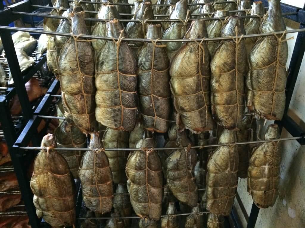 Развеска тушек тунца для горячего копчения в обвязке (около 95 кг)